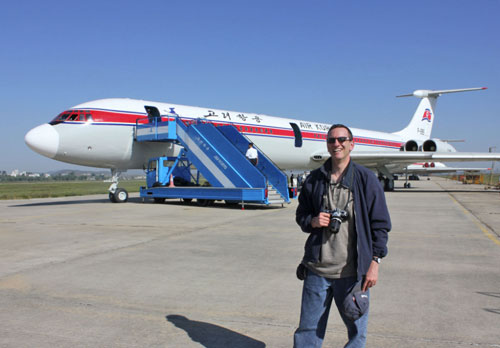 Henry Tenby with Air Koryo IL-62 in Pyongyang North Korea