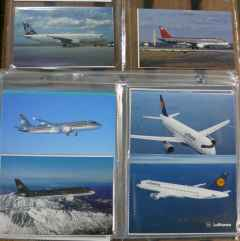 Airbus A320 airline postcard collection