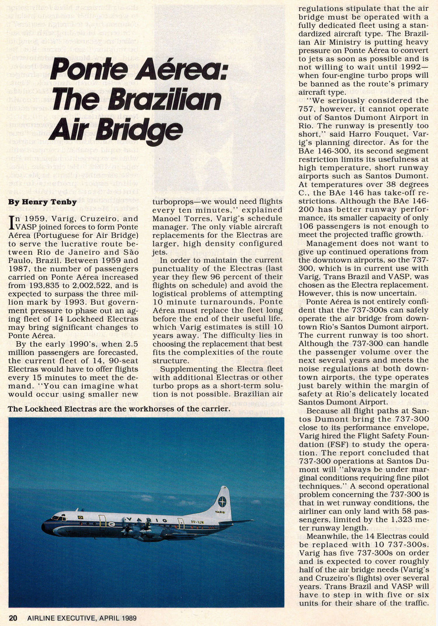 VARIG Ponte Aerea Lockheed Electra operation