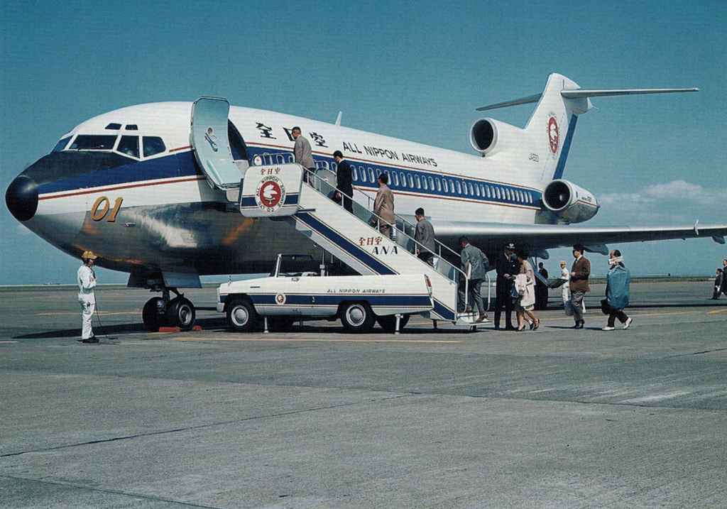 All Nippon Airways Boeing 727-100 JA8301 1964 apron view with passengers