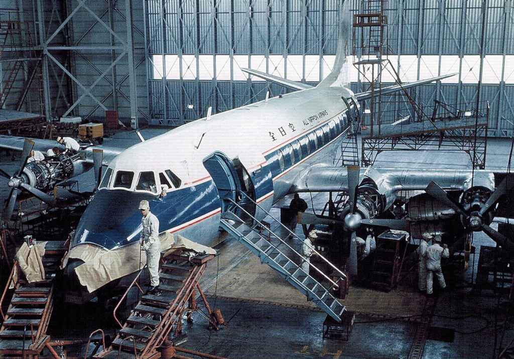 All Nippon Vickers Viscount 828 in the hangar early 1960s