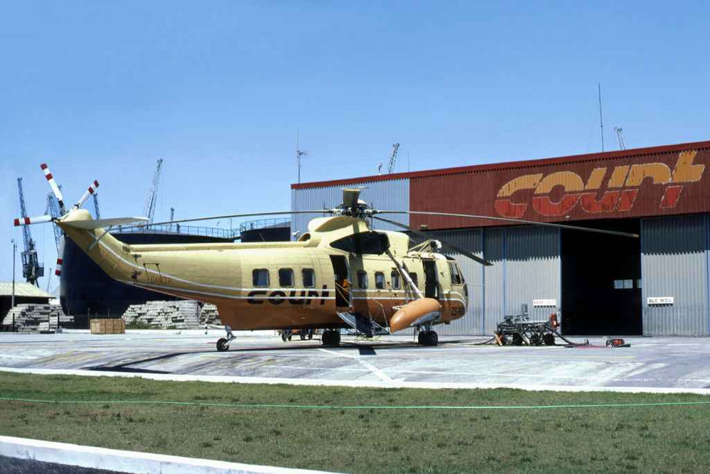 Court Line Sikorsky S-61 ZS-HGU at the Cape Town dock