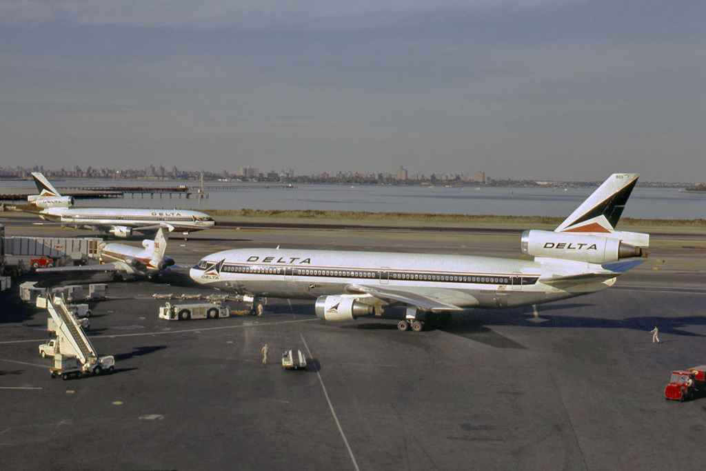 Delta DC-10s at La Guardia New York September, 1973. Slide by Ron Kosys.