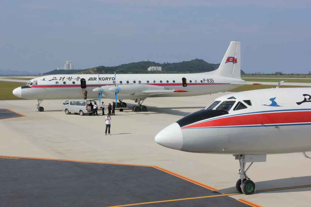 Air Koryo IL-18 and Tu-134 brought the first tourists to visit the brand new Wonsan Airport DPRK North Korea has two jetways, Sep 24, 2015