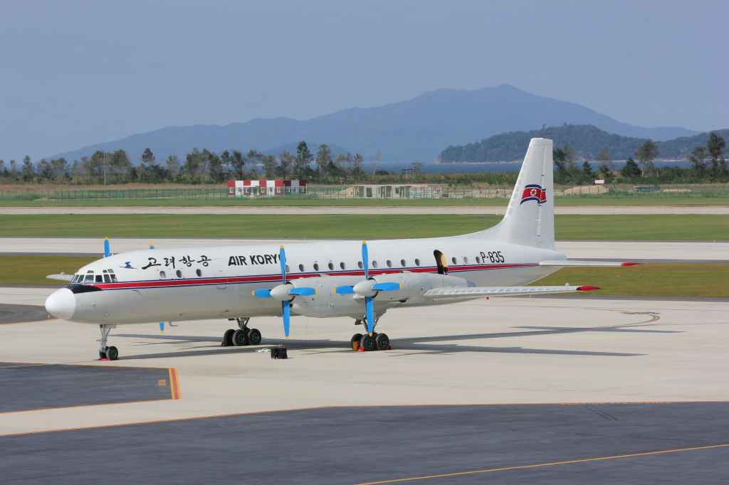 Air Koryo IL-18 at the new Wonsan Airport DPRK North Korea Sep 24, 2015