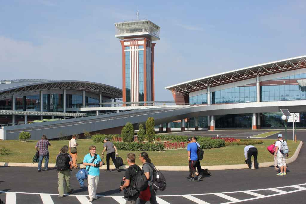 First ever tourists inspect curbside area at new Wonsan Airport DPRK North Korea Sep 24, 2015