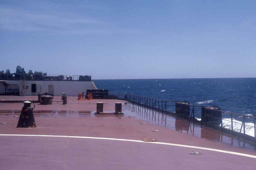 On the deck of the MV L.W Funkhouser off the coast of Cape Town South Africa being resupplied by Court Line S-61 ZS-HGU
