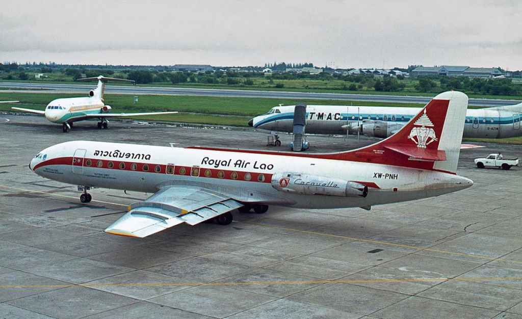 Royal Air Lao Se210 XW-PNH Caravelle at Bangkok 1975. Photo by Ron Kosys.