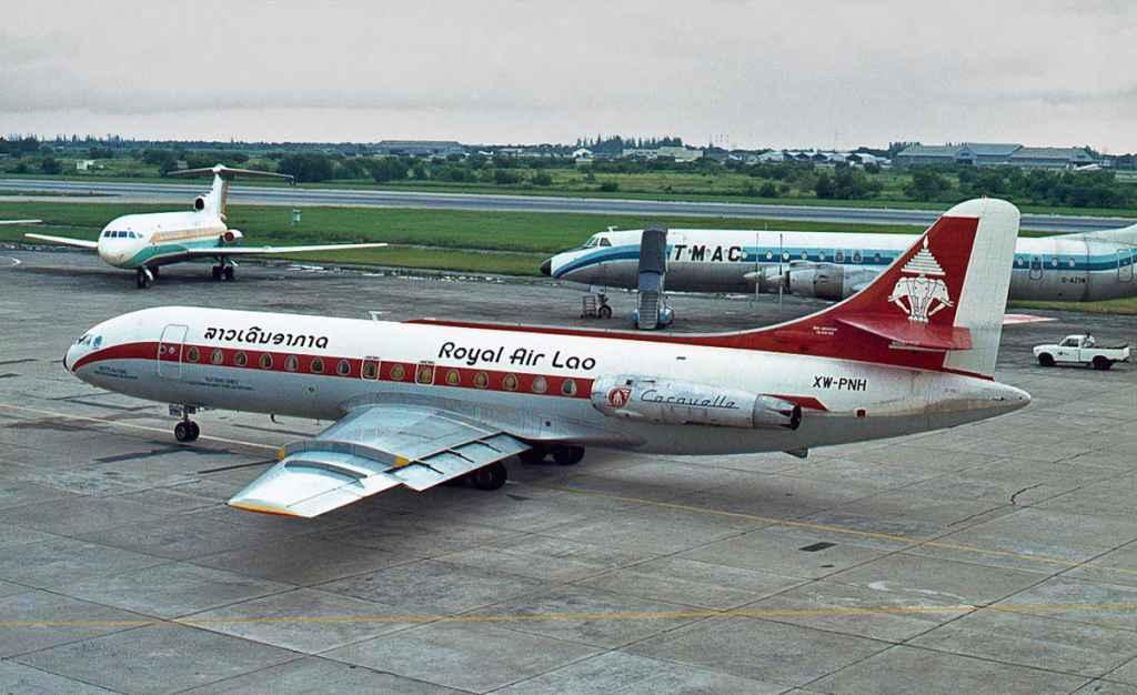 Royal Air Lao Se210 XW-PNH Caravelle at Bangkok 1975. Photo by Ron Kosys.