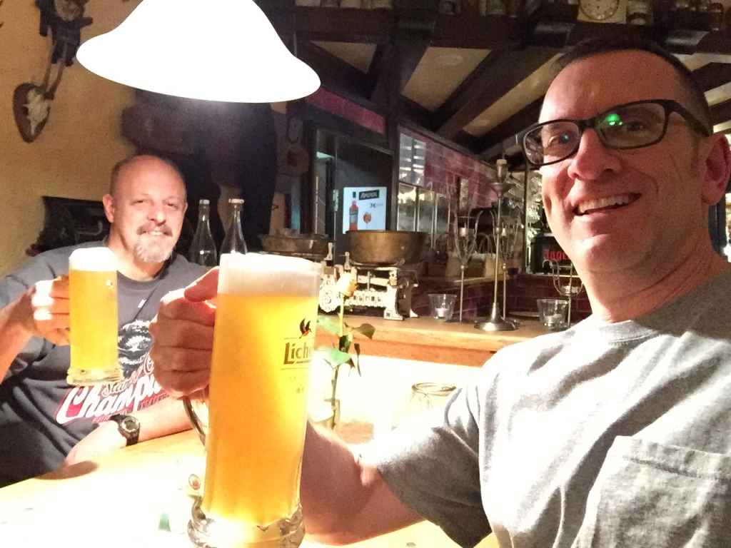 Cheers .. David Hartman and Henry Tenby enjoy some good old German ale!