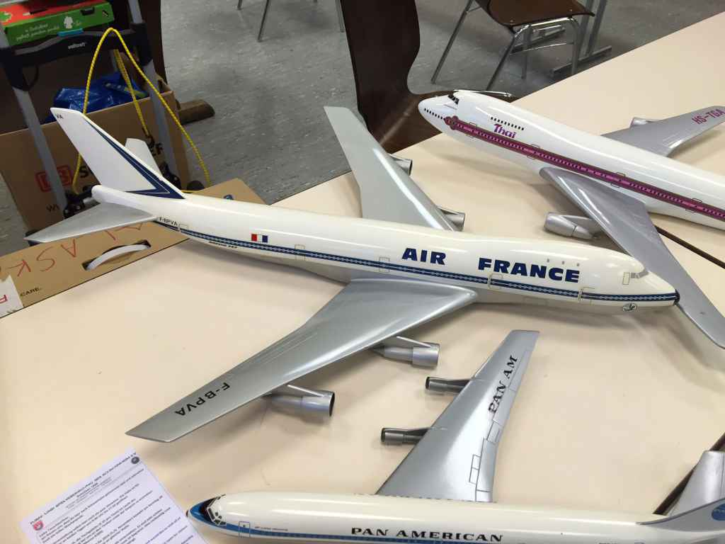 A very nice assortment of 1/100 scale airline models at the Schwanheim 2015 show. The Pan Am 707 is a wooden model from the 1960s.