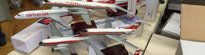Alupa airline models of current manufacture on offer at Schwanheim aviation fair 2015. The Interflug models were around 100 EUR each.