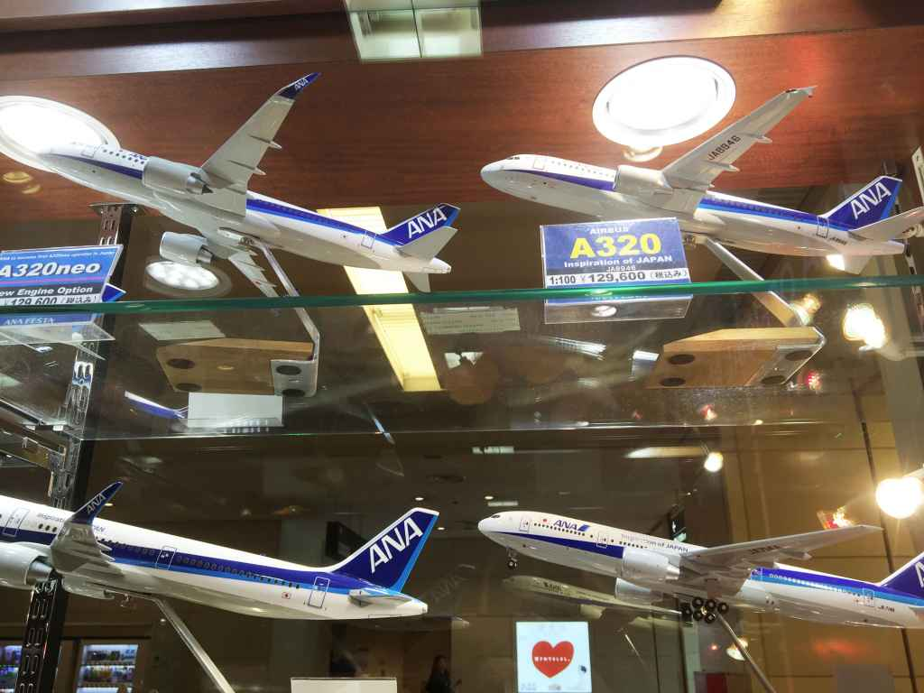 ANA Airbus A320 1/100 Pacmin model at ANA FESTA shop Haneda