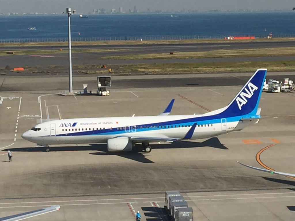ANA All Nippon 737-800 at the obsdeck at Tokyo Haneda ANA Terminal 2 with Tokyo Bay in the background