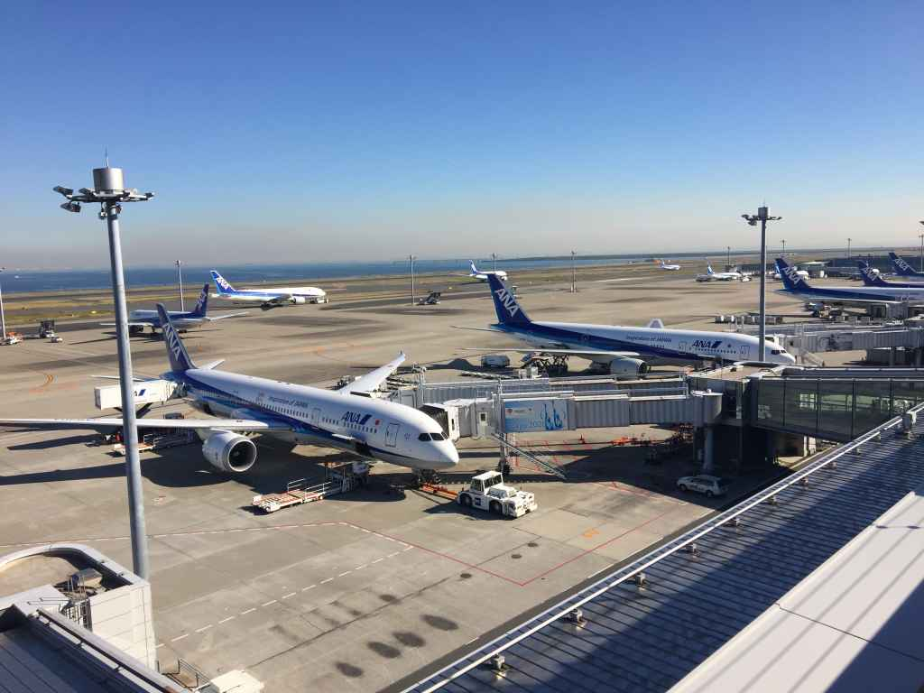 ANA All Nippon fleet spotting at the obsdeck at Tokyo Haneda ANA Terminal 2