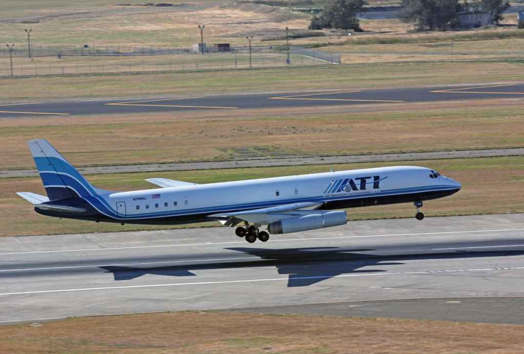 Filmed from the Travis AFB control tower, ATI DC-8-62 N799AL makes her last ever landing inbound from McClellan on May 12, 2013. She departed a few hours later for Honolulu carry military passengers and cargo.