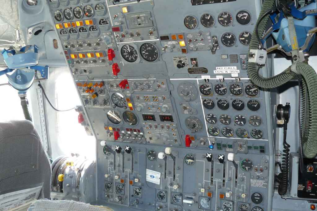 Flight engineer's office on the ATI DC-8-62.