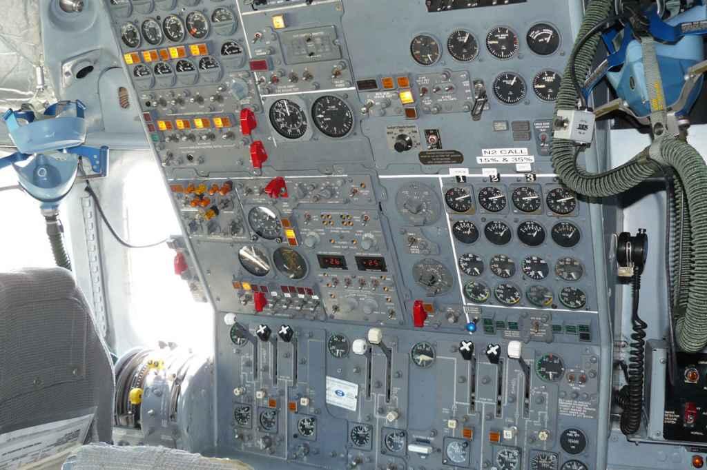 Flight engineer's office on the ATI DC-8-62.