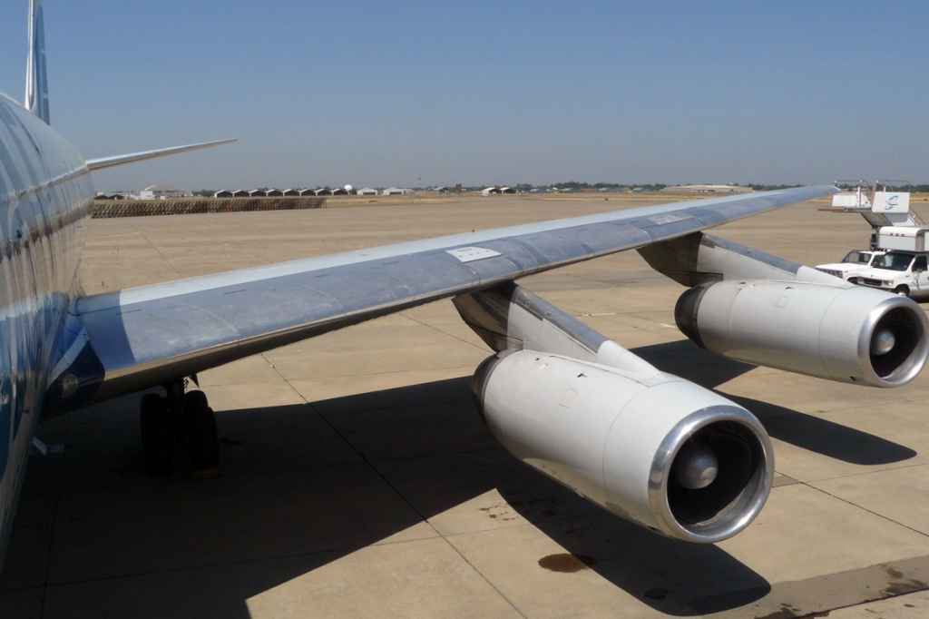 The nacelles of the DC-8-62's JT3D engines were modified to Stage III via the conversion process offered by Burbank Aeronautical Corporation II.
