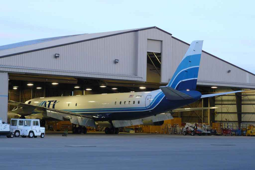 ATI DC-8-62 N799AL receives attention from the polishing crew for its final trip. Taken the night before the last flight, May 11, 2013.