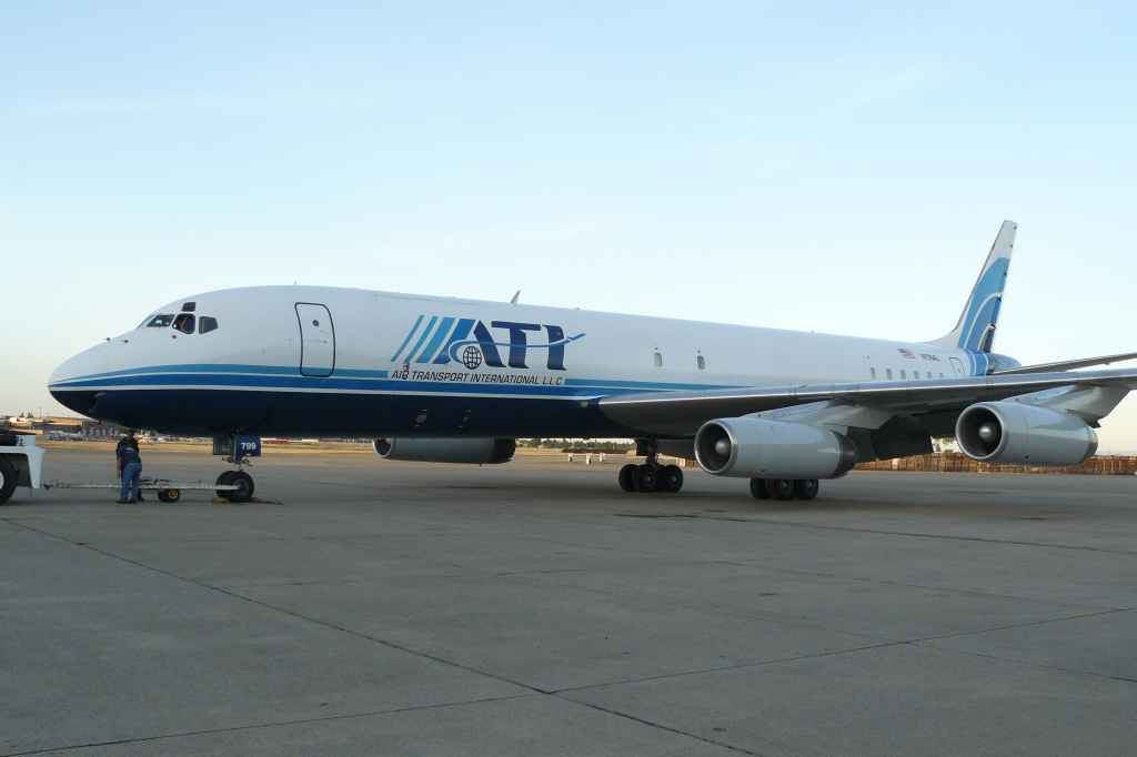 ATI DC-8-62 N799AL pushed from the hangar at McClellan for her last ever flight to Travis, on May 12, 2013.