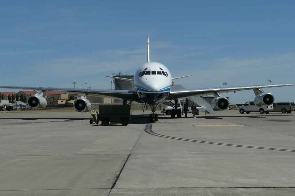 ATI DC-8-62 on the Travis ramp. Passengers have boarded.