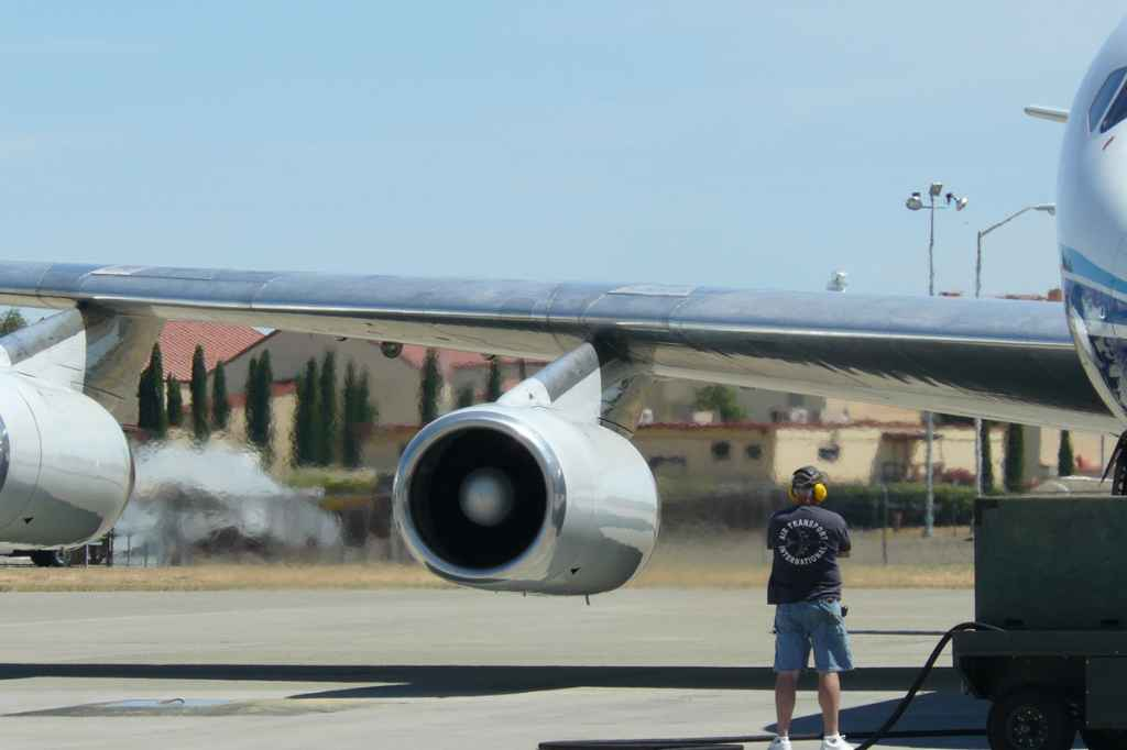 ATI DC-8-62 N799AL starts engines for departure at Travis AFB for the last time ever on May 12, 2013.
