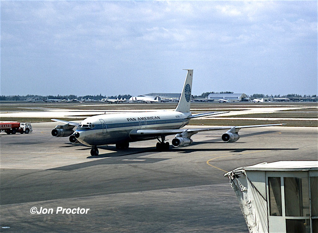 March, 1971. A rare Pan American Boeing 707-121B N707PA pulls into the gate are at Miami as viewed from the observation deck. (Jon Proctor photo)