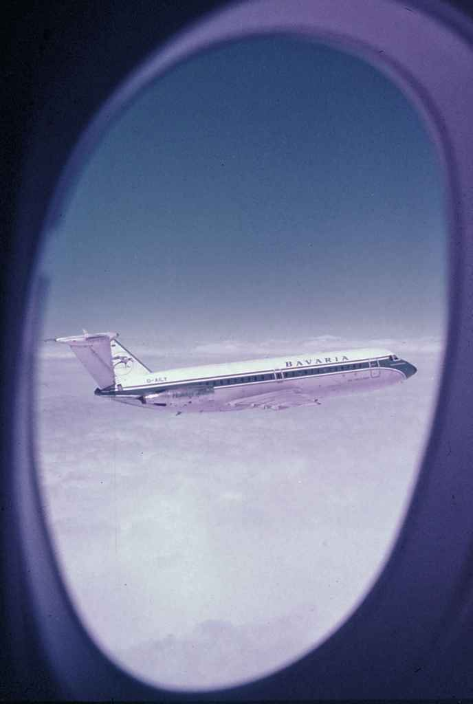 Bavaria BAC One Eleven Fun Jet D-AILY inflight circa early 1970s