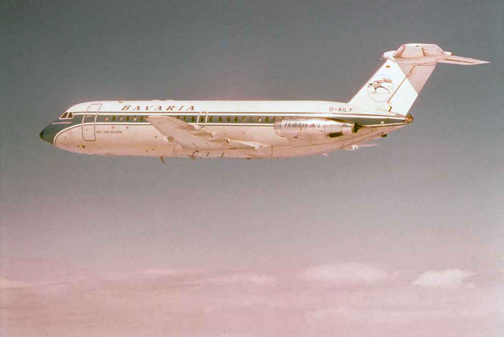 Bavaria BAC One Eleven Fun Jet D-AILY inflight circa early 1970s.