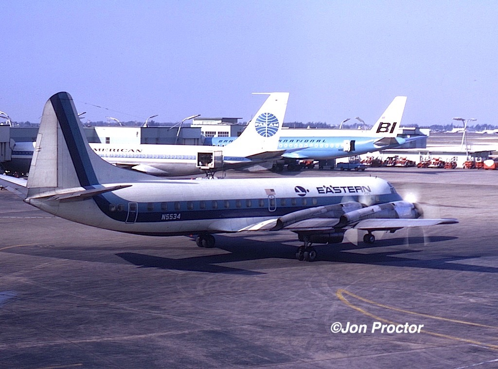 March, 1971 Eastern Electra N5534 prepares for departure. (Jon Proctor photo.)