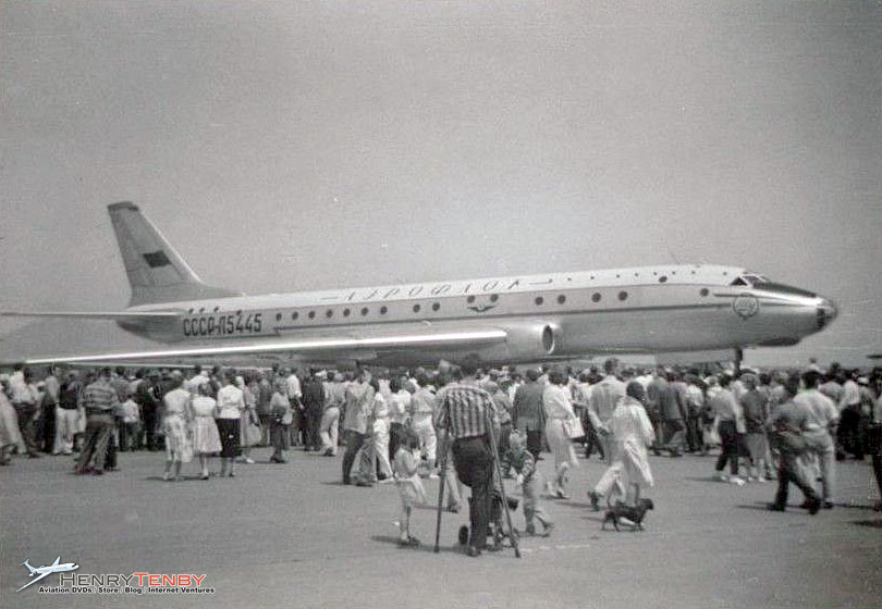 "Aeroflot TU-104 jetliner CCCP-175445  at the Vancouver airport airshow on Sunday, June 25, 1958. It was here that Boeing's 707 Test Pilot  Tex Johnson told the TU-104's pilot what he thought about the aircraft after having had a flight on it that day: """"In my twenty-one thousand hours of piloting time, the TU-104 is the sorriest damn airplane I have ever had the misfortune of flying in."""