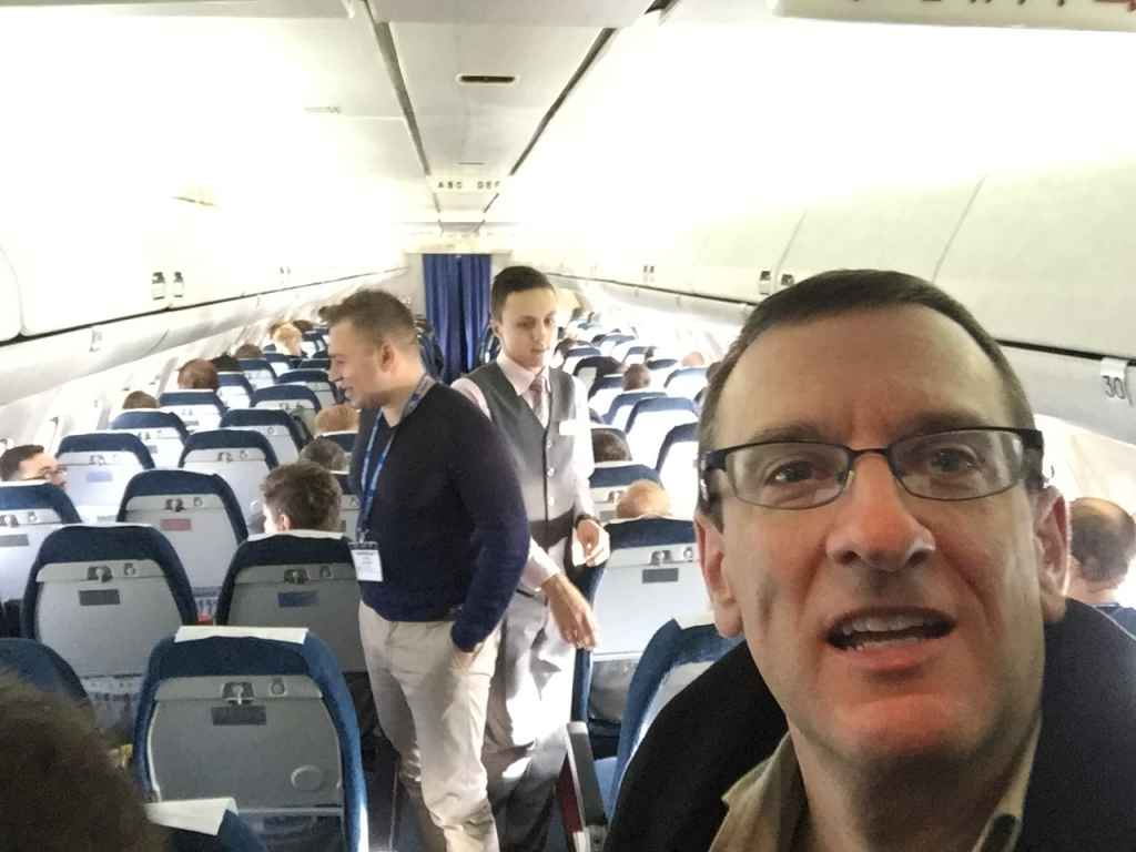 Once we got to cruise we had time to explore the cabin of the Belavia Tu-154. This selfie was taken at the very back row near the lavs. That's Boris from Merlin Tours on the left, and one of our Flight Attendants in the centre.