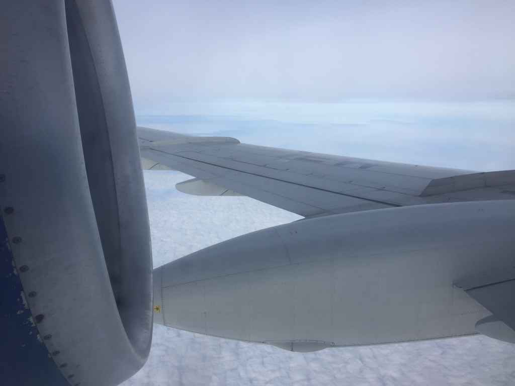 Belavia Tupolev 154 engine and wing view as seen through the window at row 31.