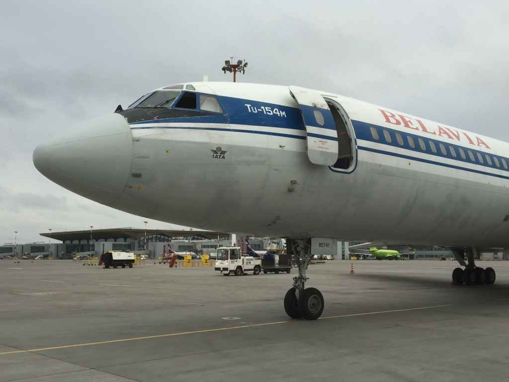 Nice nose study of the Belavia Tu154 on the Saint Petersburg apron, prior to departure back to Minsk.