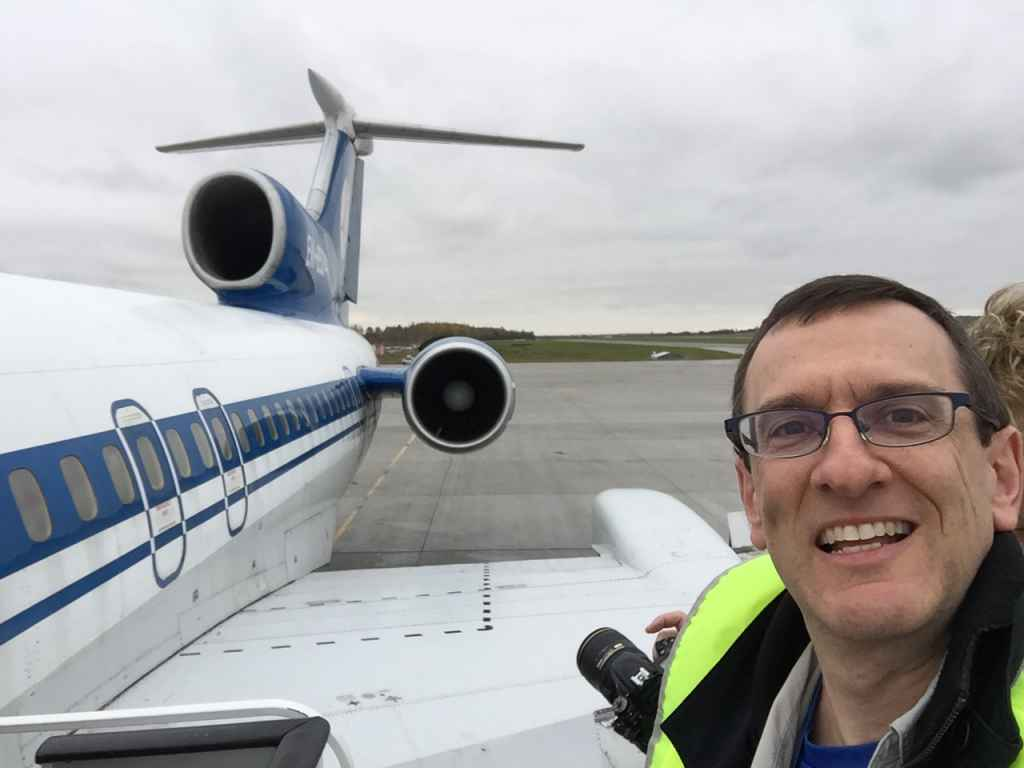 Henry Tenby poses for an iPhone selfie while at the top of the boarding stairs in Saint Petersburg, Russia. We're boarding the Belavia Tu-154 for the last sked flight of this type. End of an era!