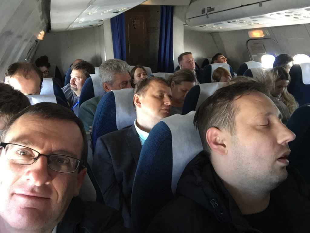 The blokes beside me decided to sleep away their time on the last every Belavia Tu154 sked service back to Minsk from Saint Petersburg. They were completely oblivious.