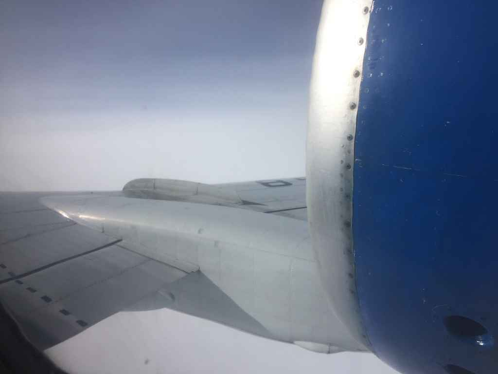 Unique window view on board the Belavia Tu-154 en route between Saint Petersburg and Minsk. Taken from the last seat in the house. Which was actually not occupied.