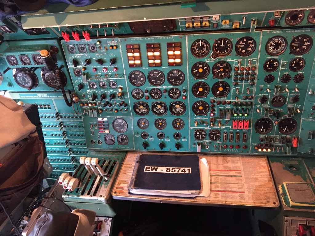 The log book of Belavia Tu154 EW-85741 sits on the navigator's desk, after our return from Saint Petersburg.
