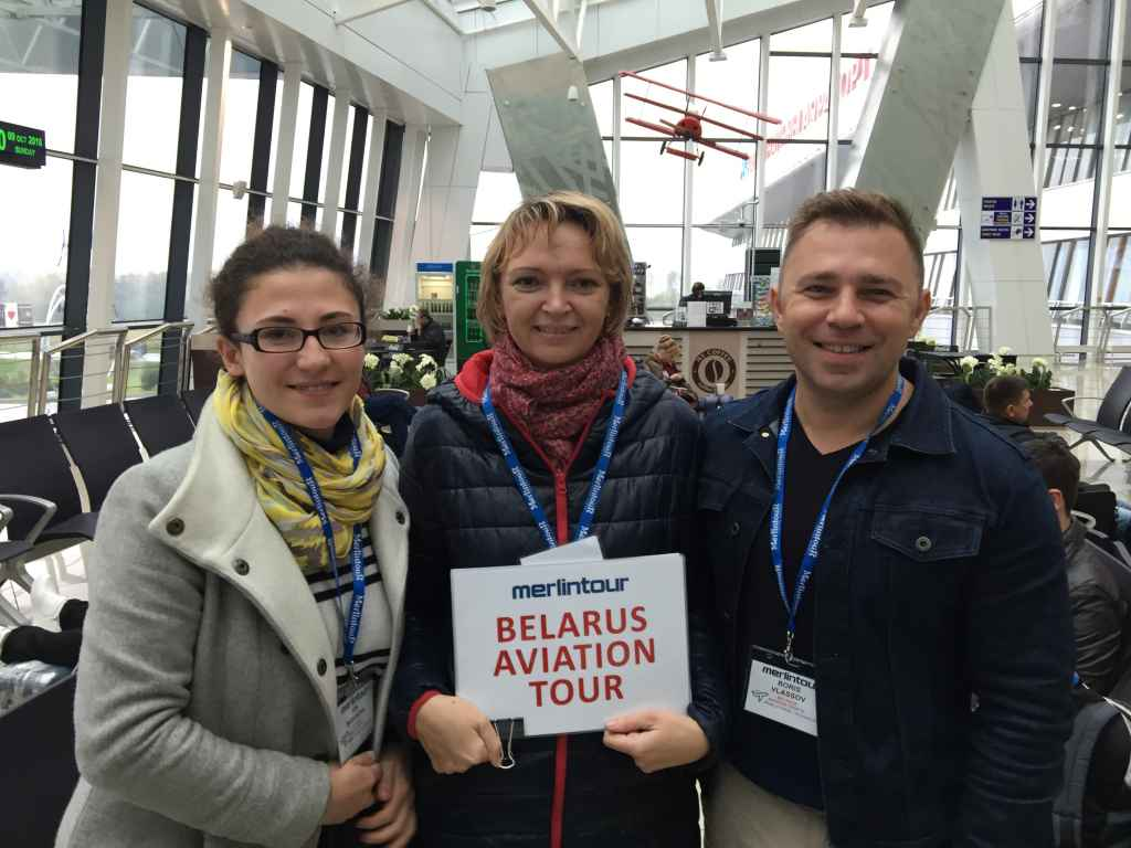 Irena, Olga and Boris of Merlin Tours at Minsk 2 Airport main terminal building departures level.