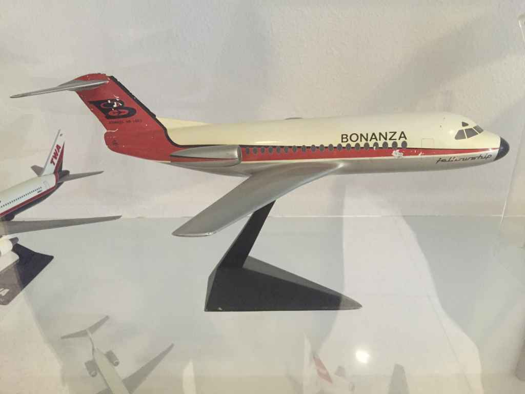 Bonanza Air Lines Fokker 28 1/72 metal model made by Verkuyl, circa mid 1960s. This is a demonstration model made for Fokker. Bonanza never did take delivery of Fokker 28s.