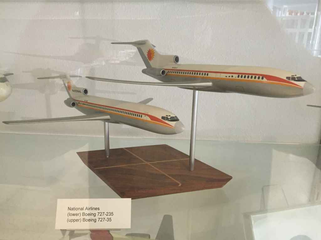 National Airlines Boeing 727-35 and 727-235 both in 1/100 scale. Probably made by Pacific Miniatures, circa mid 1970s.