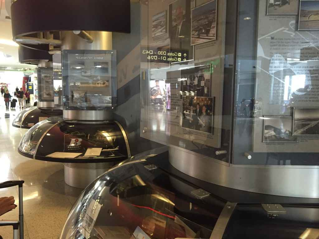 This is a view of the historic wall display at Las Vegas McCarran airport that showcases the history of the airport and the airlines that have served the State since the late 1940s.