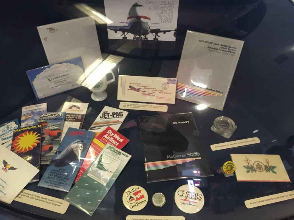 An assortment of 1970s and 1980s ephemera from airlines that served Las Vegas during that era, including Air California, Sunworld, Pacific Express, Republic Airlines, and Western Pacific.
