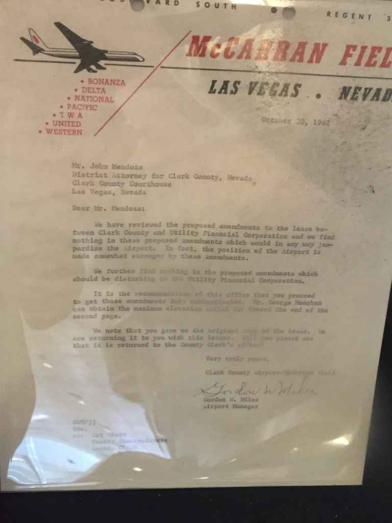 A letter from McCarran Airport to Clark County DA dated October 30, 1962, regarding property lease details between the airport and the county.