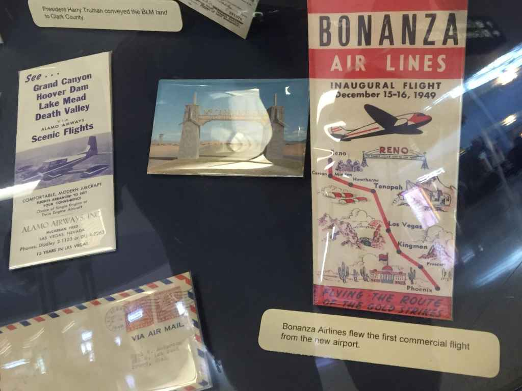 It was Bonanza Air Lines that flew the first commercial flight from the new Las Vegas airport on December 15-16, 1949, as promoted on this period timetable issued by the airline.