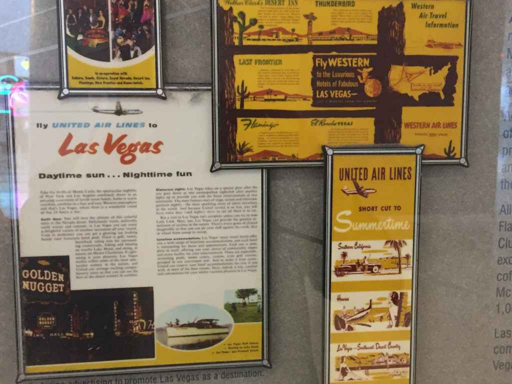 Las Vegas promotional brochures issued by United Airlines in the 1950s.