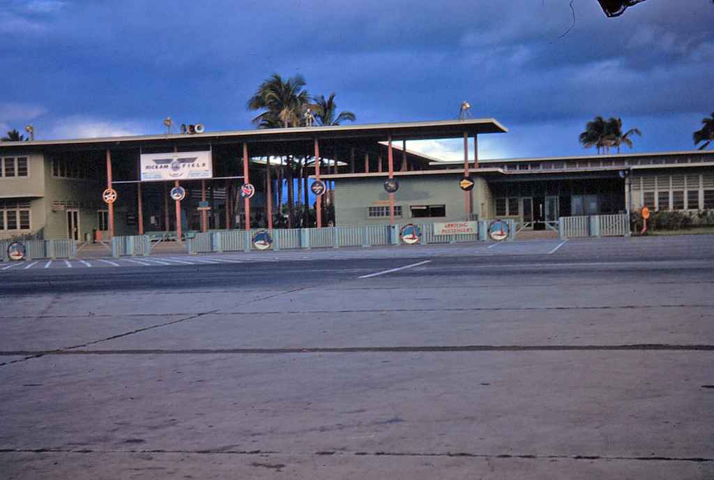 This is the arrival terminal building at Hickam Air Force base as seen in the 1940s and early 1950s.