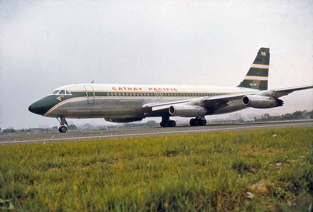 Fabulous view of Cathay Pacific Convair 880 VR-HFY at Taipei Sung Shan airport circa 1971.