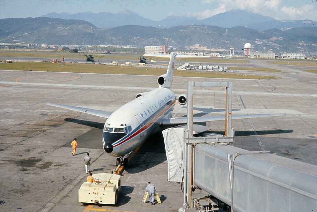 China Airlines Boeing 727-100 at Taipei Sung Shan airport circa 1971. Probably taken soon after her initial delivery from Boeing.